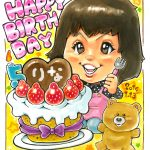 似顔絵のプレゼント 巨大なケーキで誕生日祝い
