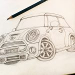 手描きの車のイラスト BMWminiを描いてみた