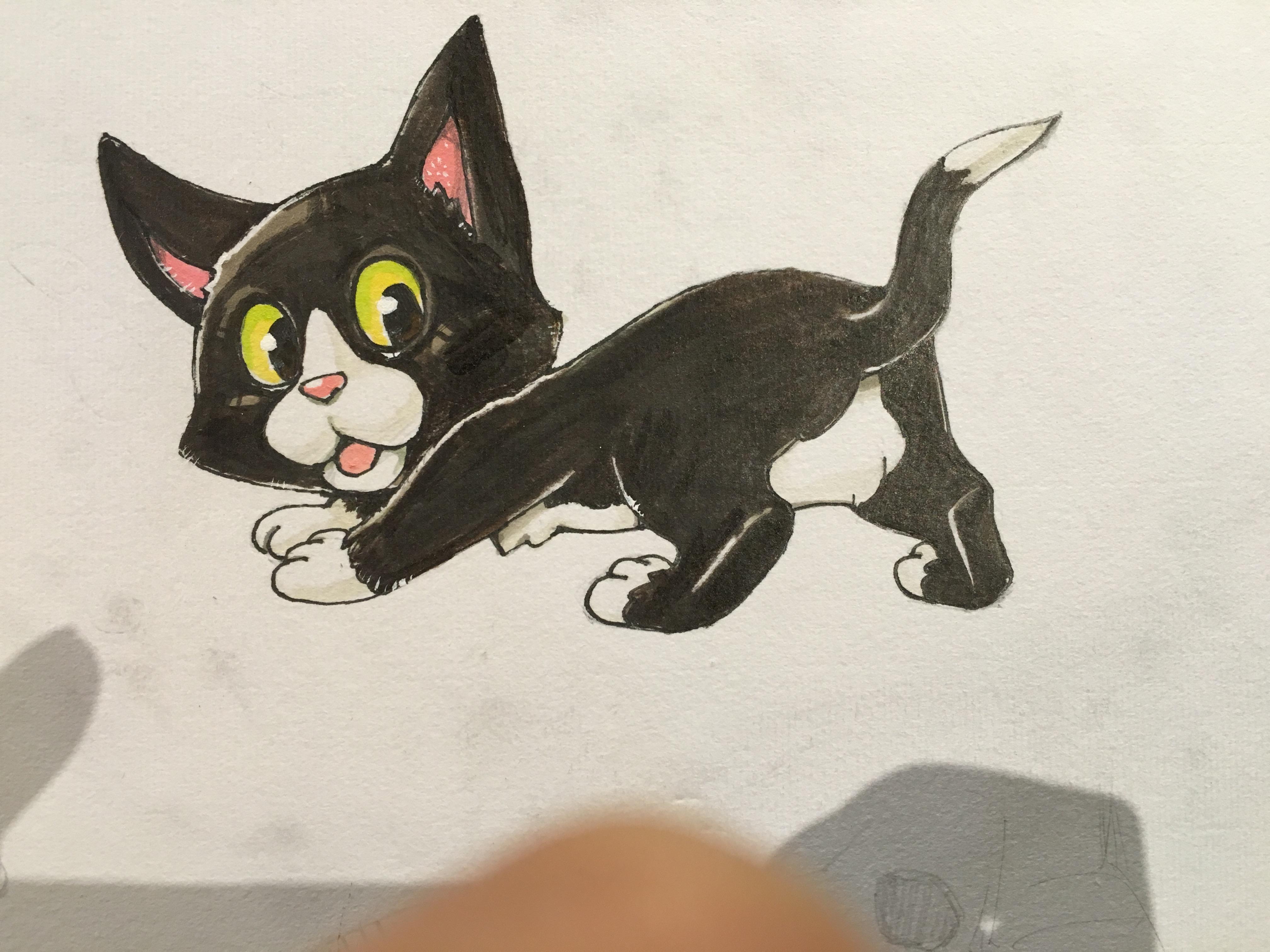 猫のペットの似顔絵の描き方。動物イラストの練習にはディズニーを参考