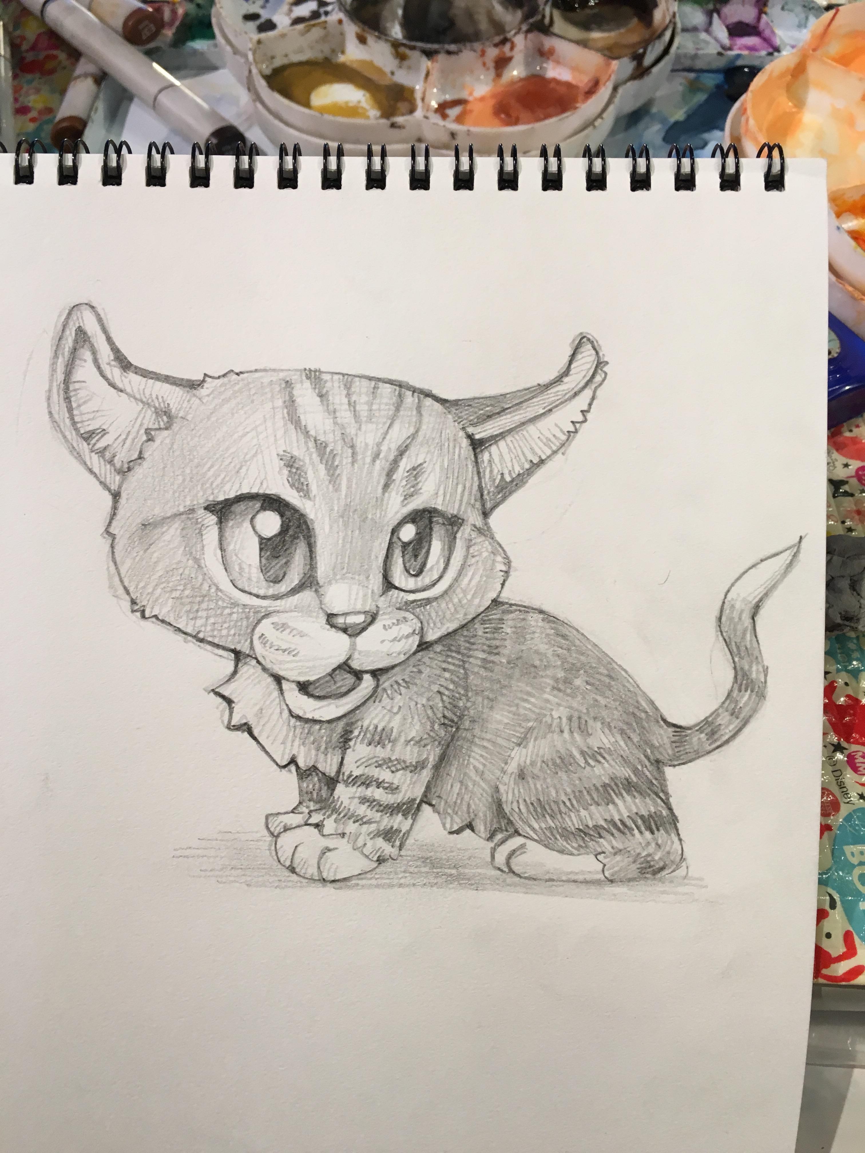 猫のペットの似顔絵の描き方。動物イラストの練習にはディズニーを参考に