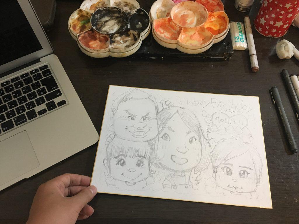 アナログ画材で描く似顔絵イラスト講座 色紙に鉛筆を使う下書きの描き方 やすしの似顔絵研究所