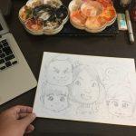 【アナログ画材で描く似顔絵イラスト講座①】色紙に鉛筆を使う下書きの描き方。